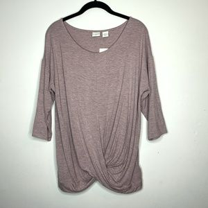 ST TROPEZ Pink Marled Jersey Draped Top Large
